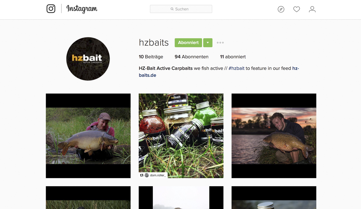 Bildschirmfoto 2016 10 11 um 11.56.44 - HZ Baits ab jetzt auch bei Instagram!