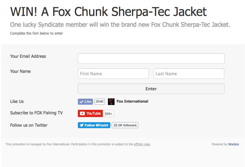 Bildschirmfoto 2017 01 24 um 08.24.05 -  - win, The Sydicate, Sherpa Jacket, Newsletter, news, gewinnspiel, Fox international, Fox Gewinnspiel, Fox Chunk, fox, Carpfishing