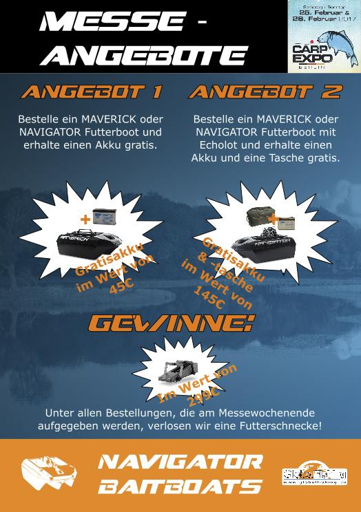 Poster Messeangebot 148x210mm -  - Navigator Bait Boats, Messeangebote, Maverick Navigator, Global fishing, gewinnspiel, Carp Expo, Berlin, Bait Baits