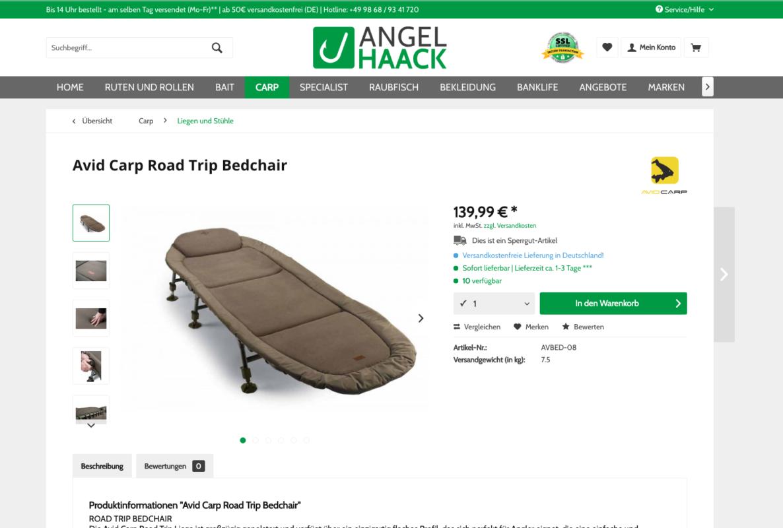 Bildschirmfoto 2017 09 05 um 14.21.56 1186x800 - Preis gesenkt: Avid Carp Road Trip Bedchair