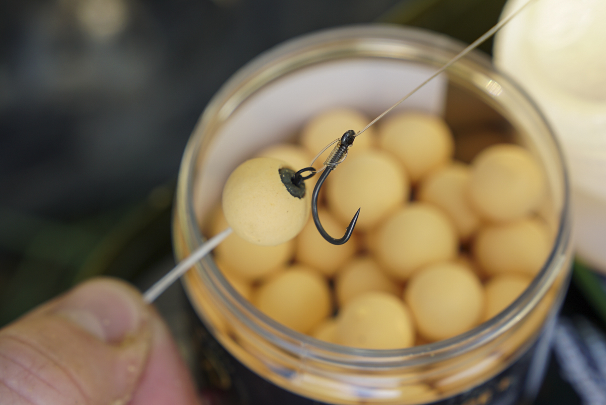11. Mount the hookbait to the rig and check it is balanced perfectly -  - Tricks, Tipps, Pop-ups, Live System, Köder, karpfenangeln, kaltes Wasser, Crush, CC Moore, boilies, Baits
