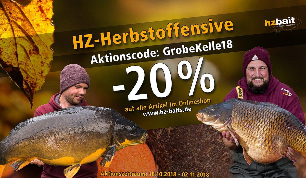 Herbstoffensive18 HZ 1200x700 - Verlängert: 20% auf alles – HZ Baits im Herbst