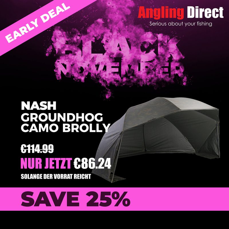 twelvefeetmag Black Friday 2018 Product Square Nash Groundhog Brolly Early Deal 800x800 -  - Angling Direct